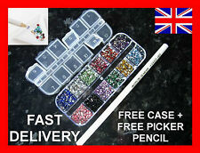 3000pcs NAIL ART RHINESTONES GEMS CRYSTALS 12 COLOURS FREE CASE & PICKER PENCIL