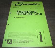 Werkstatthandbuch Citroen Evasion Beschreibung Technische Daten Modelljahr 2000