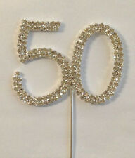 Rhinestone 50th Birthday Silver Crystal Anniversary Number Cake Cupcake Topper