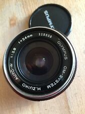 OLYMPUS ZUIKO OM AUTO-W 24mm f/2.8 Prime Lens, front/Rear Caps, Soft Case