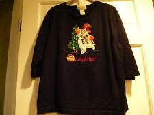 Christmas Sweater Longaberger Snowman  Tree Women Large  L Vtg Not Ugly Sequin
