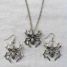 NEW 1 set of Retro silver Spider  pendant necklace & earrings Fashion Jewelry