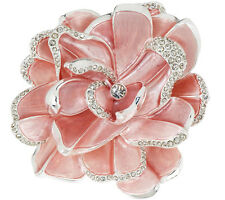 NEW Joan Rivers Limited Edition Pink Pave' Gardenia FLOWER BROOCH Pin