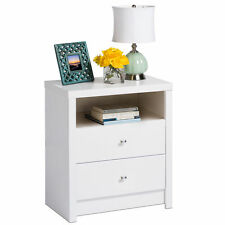 Pure White Nolita Tall 2-drawer Nightstand Table Furniture Home Bed Room Decor