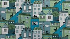 MARSON CAT AND HOUSE BLUE DESIGNER CURTAINS BLINDS CRAFT UPHOLSTERY FABRIC