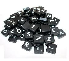 100 BLACK SCRABBLE PLASTIC TILES LETTERS FOR ART & CRAFTS SCRAPBOOK UK SELLER