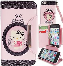 Hello Kitty PU Leather Sexy Lace Print Wallet Case for Apple iPhone 5C Cover