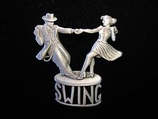 """JJ"" Jonette Jewelry Silver Pewter '30's SWING Dance Team' Pin"