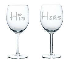 Wine Glass White Red Wine 10oz Set of 2 Glasses Couple Wedding Gift His and Hers