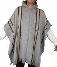 PONCHO MAN HOODIE ALPACA WOOL Jacket cloak sweater cape handmade light gray