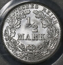 1913-A PCGS MS 66 OGH GERMANY Silver 1/2 mark GEM BU Berlin Coin (16050906C)