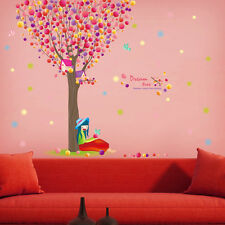Dream Tree Birds Girl Wall Stickers Decals Art Home Kid Nursery Room Decor Mural