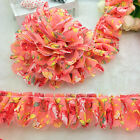 New 5 Yards 2-layer 40mm Pink Pleated Trim Mesh Lace Sewing Sequin Gathered