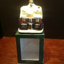 Department 56 Brick Town Hall Blown Glass Ornament Made In Poland MIB 17714
