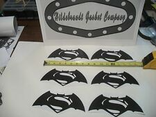 BATMAN VS SUPERMAN DECALS 4D CARBON FIBER  6 FOR  $9.99CAN **FREE SHIPPING**