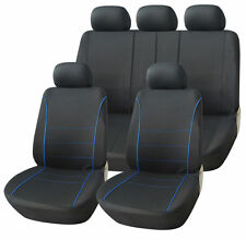 CITROEN BERLINGO MULTISPACE 08-ON BLACK SPORT SEAT COVERS WITH BLUE PIPING