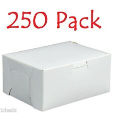 """250 Bakery Cookie Pastry Box 6"""" x 4 1/2"""" x 2 3/4"""" White Made in USA Bundle Pack"""