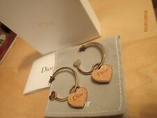 AUTHENTIC Christian Dior Gold Heart Hoop Earrings with box