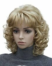 Kalyss Womens Short Curly Heat Resistant Synthetic Blonde Hair Wigs
