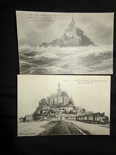 Mont St Michel. x 2 early ppc stormy day /dike & train. J. P. No's 3 and 112 1-j