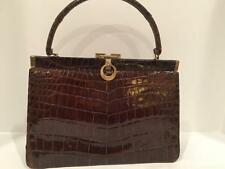 Genuine Brown Crocodile Alligator Vintage 1940-1950's Bellstone Handbag Purse