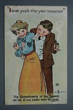 R&L Postcard: Pipe Smoking Groping Man, Edwardian Lady, May Your Trobles Vanish