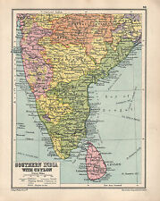 1934 MAP ~ SOUTHERN INDIA WITH AEYLON ~ MADRAS BOMBAY HYDERABAD BOMBAY MYSORE