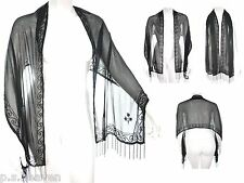 WOMENS NEW GORGEOUS BLACK SCARF SHAWL GOSSY BLACK BEAD EMBROIDERY