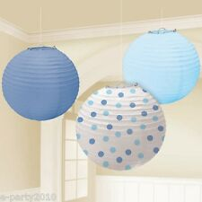 BABY BLUE & POLKA DOT PAPER LANTERNS (3) ~ Birthday Party Supplies Decorations