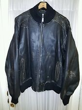 M. Julian Men's Size Large Black Distressed Leather/Ribbed Cotton Bomber Jacket