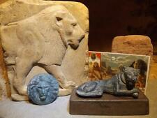 Egyptian statue & relief sculpture + amulet. The Lion in art collector card