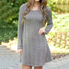 Fashion Womens Long Sleeve Jumper Tops Knitted Sweater Mini Dress Skirt Clothes