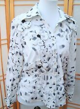 Samuel Dong White Black floral embroidered Beaded Blouse Women's M