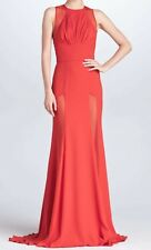 ELIE SAAB Red Sheer Panel Open Back Dress Gown  4