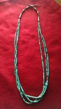 Navajo 3 Strands Turquoise Heishi Bead & Sterling Silver Bench Beads  Necklace