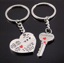 2 Porte-clés coeur et clé à séparer, I love you pour couple.