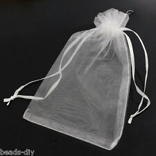 50PCs 10x15 Organza Gift Bags Jewelry Pouches White Wedding Party Favors