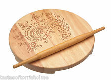 Kitchen Craft Wooden Indian Chapati Rolling Pin & Round Wood Pastry Board Set