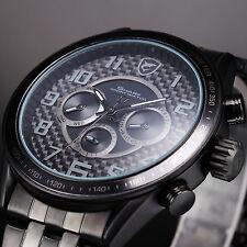 SHARK Fashion Men's Sport Wrist Watch Black Stainless Steel Band Day Date Quartz