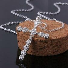 White Gold colour Chain Silver Necklace + Cross Crucifix Pendant Crystal Gift