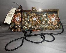 NWT VALERIE STEVENS BEADED EVENING BAG BLACK W/ TURQUOISE BROWNS GOLD TWO STRAPS