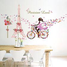 Wandtattoo romantische Eiffelturm Paris Blume der Liebe Wandsticker