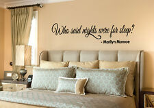 MARILYN MONROE Quote Vinyl Wall lettering Decal WHO SAID NIGHTS WERE FOR SLEEP