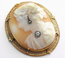 Antique 10K Rose Gold High Relief Carved Shell Cameo w Diamonds Classical AS-IS