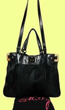 MILLY 'Amelia' Black Hair Calf & Leather Tote Shoulder Bag Msrp $485.00