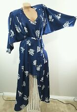 Vintage miss elaine floral nightgown & robe peignoir silky set sz S M
