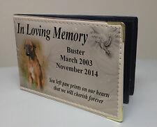 Personalised faux leather photo album, memory book, boxer dog or any breed