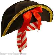 Ladies Black Red Sexy Pirate Fancy Dress Party Costume Hat with Bandana
