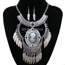 Victorian Vintage Silver Girl Cameo Feather Crescent Chain Necklace Earrings