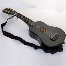 New Wooden Black Guitar Acoustic Instrument Kids Music